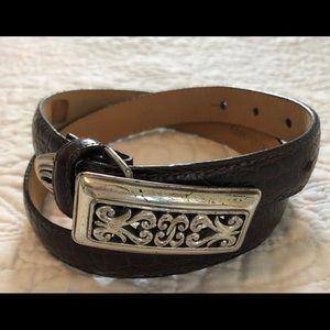 Brighton thin dark brown croc style belt, Small